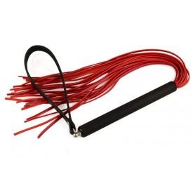 Красная кожаная плеть MIX с черной рукоятью - 47 см.
